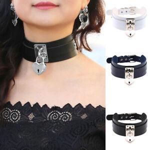 Women High Choker Lockable Padlock BDSM Key Collar Necklace Metal Bondage Slave