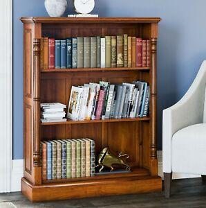 Bookcase 3 Shelf Unit Solid Mahogany Light Wood Low Display La Reine