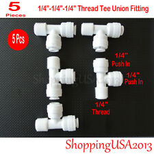 """5 Pcs Male Tee Union Fitting 1/4"""" Thread Quick Connector Ro Water Filter"""