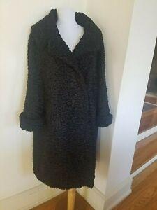 Exquisite Genuine Real Black PERSIAN LAMB FUR Coat Size L / XL