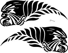 AOTEAROA NEW ZEALAND KIWI SILVER FERN WARRIOR STICKER PAIR BUMPER STICKER WHITE