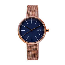 SKAGEN Signature SKW2593 Ladies Navy Blue Dial Rose Gold Stainless Steel Watch