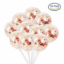 "10PC 12"" Rose Gold Confetti Balloon Helium Balloons Birthday Wedding Party Decor"