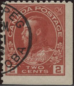 Canada #106as 2c carmine KGV Admiral booklet pane single (2 straight edges) used