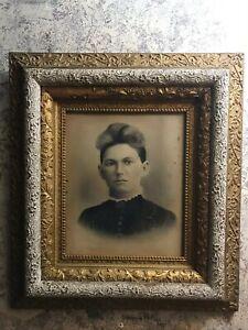 """19th Century antique gold silver gesso art frame portrait 1800s woman 26x29"""""""