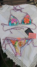 NUEVO Manoush Bikini Diseño Bonito Tropical Hawaii estampado Size L BNWT