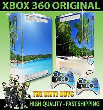 XBOX 360 VECCHIO ADESIVO FORMA Tropicale Spiaggia Paradiso Palma SKIN e 2 SKIN PER PAD