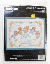 Vintage Janlynn Sampler Happy Babies Birth Record Cross Stitch Kit