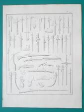 ARMS Piercing Spear Ax Lance Bow Sword Firing Rifle Pistol  - 1828 Antique Print