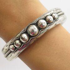 "Vtg 925 Sterling Silver Bead Design Wide Hollow Unisex Cuff Bracelet 7"""