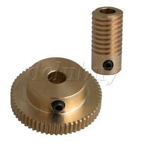 Yellow Brass 20mm Height Worm Gear Shaft with 60T Drive Gear Wheel 0.5 Modulus