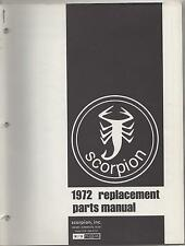 1972 SCORPION SNOWMOBILE REPLACEMENT PARTS  MANUAL NEW