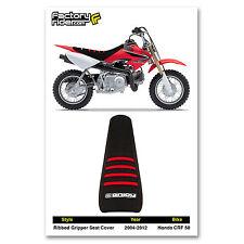 2004-2012 HONDA CRF 50 All Black / Red Ribs RIBBED SEAT COVER BY Enjoy MFG