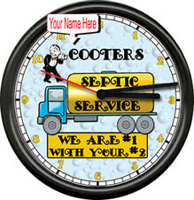 Personalized Your Name Sewer Septic Pumping Service Truck Sign Wall Clock