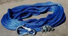 """Heavy Duty Anchor Line Rope 3/8"""" x 50' with Cleat & Snap Hook Blue"""