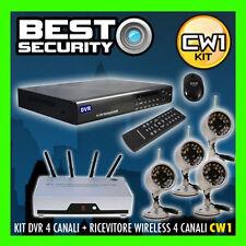 KIT CW1 VIDEOSORVEGLIANZA WIRELESS 4 TELECAMERE RICEVITORE + DVR 500GB