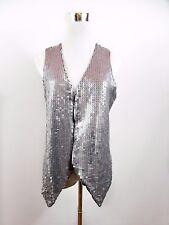 SAINT TROPEZ Designer Women's Sequin Grey Casual Sexy Waistcoat sz 12 M BD18
