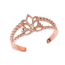 Toe Ring In Rose Gold Solid 10k 14k Lotus Flower Rope