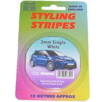 3mm WHITE PIN STRIPE COACHLINE TAPE x 10 METRE ARTS AND CRAFTS DECORATIVE