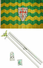 3x5 Donegal Ireland Irish Flag White Pole Kit Set 3'x5'