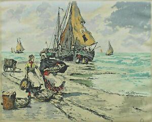 Lithography Market Women Fishing Boats Beach