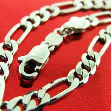 FSA521 GENUIN REAL 18CT WHITE G/F GOLD SOLID CLASSIC ITALIAN LINK NECKLACE CHAIN
