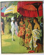 Plakat affiche Kolonialismus Colonialism color Orig Lithografie 1890 entoilé