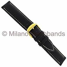 18mm Hirsch Carbon Fiber Black With White Stitching Water Resistant Watch Band