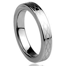 Men Women  Engraving 4MM Titanium Wedding Band Ring Celtic Knot Engraved Ring