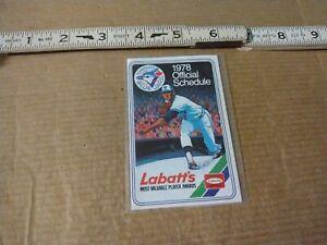 1978 Toronto Blue Jays Baseball Pocket Schedule Labatts