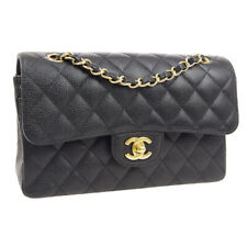CHANEL Classic Double Flap Small Chain Shoulder Bag 17610342 Black Caviar 00856