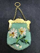 Antique Victorian Beaded Finger Purse with Brass Frame, White Flowers