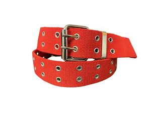 Men's Canvas Belt Double Grommet Double Prong 100% Cotton Durable Work or Casual