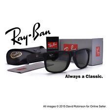 RayBan Sunglasses Justin Matte Black Rubberized Frames Green Lenses RB 4165 54mm
