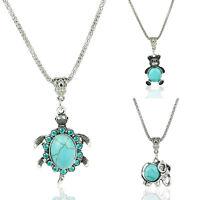 Chic Turquoise Tortoise Elephant Crystal Tibetan Silver Pendant Necklace Jewelry