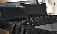 Completo raso set lenzuola matrimoniale nero rigato letto biancheria fodere