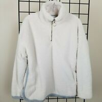 Paper Crane Fleece Faux Fur Pullover Top Ivory Gray Soft Lined Women's S Bust 42