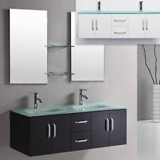 Mobile da Arredo per Bagno 150 cm nero con lavabo in cristallo doppio + specchio