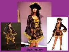 BUCCANEER Sassy Victorian Pirate Costume Renaissance Dress & Hat HALLOWEEN M/L