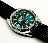 CITIZEN AUTOMATIC MEN,S STEEL VINTAGE GREEN DIAL MADE JAPAN WATCH RUN ORDER