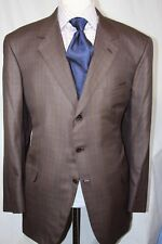 BRIONI - Neiman Marcus Brown 3 Button Windowpane Silk / Wool Blend 50 R