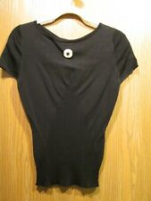 Chanel AUTHENTIC Black Silk & Cotton Pullover Cap Sleeve Blouse Top SZ 38 NEW