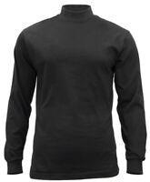 Black Mock Turtleneck Cotton Long Sleeve Cold Weather Under Shirt Rothco 3406