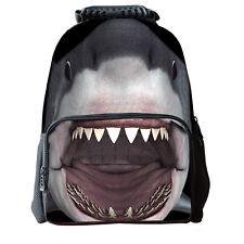 3D Grey Shark School Bag Casual Travel Outdoor Backpack Men Women Shoulder O
