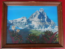 Vintage graven wood painting with original image of Cervinia-Italian Alps
