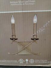 Monteaux Lighting 2-Light Criss Cross Antique Silver Leaf Sconce
