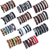 Multilayer Punk Women Men Leather Wrap Braided Wristband Cuff Bracelet Bangle