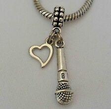 Microphone Music Speech Lead Singer Band Dangle Bead for European Charm Bracelet