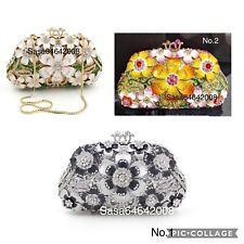 Evening luxury Flower Multi color crystal clutch purse handmade handbag