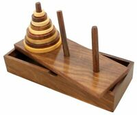 Tower of Hanoi 9 Ring Wooden Mathematical Puzzle Game for Kids and Adults Gift